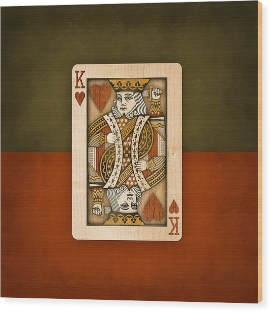King Of Hearts In Wood Wood Print