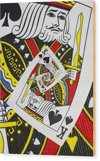 King Of Spades Collage Wood Print
