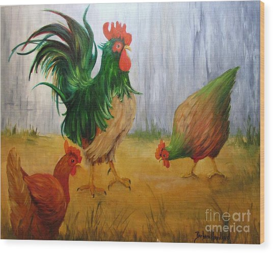 King Of The Chicken Yard Wood Print
