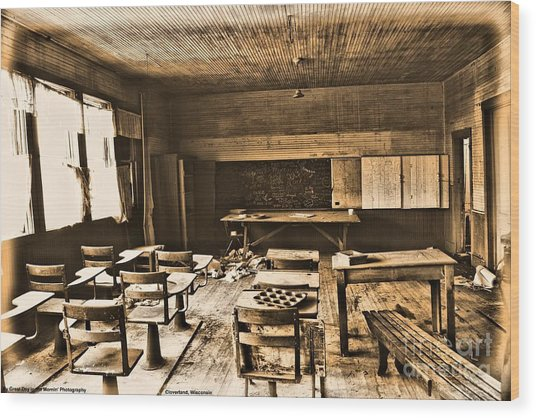 King School 1916 To 1948 Wood Print by Michelle and John Ressler