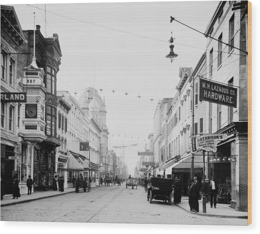 King Street In Charleston South Carolina Circa 1910 Wood Print