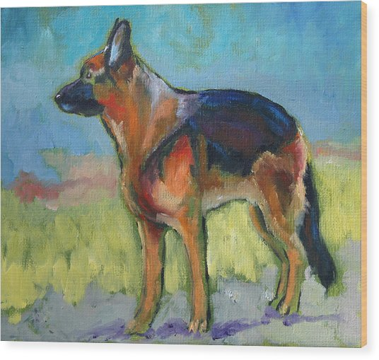 King The German Shepherd Dog Wood Print
