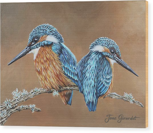 Kingfishers Wood Print