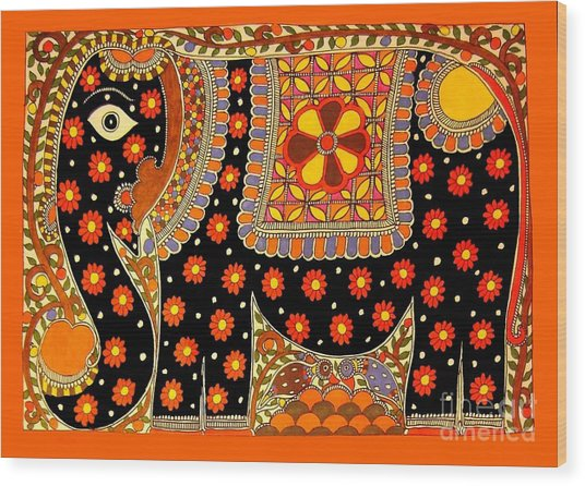 King's Elephant-madhubani Paintings Wood Print