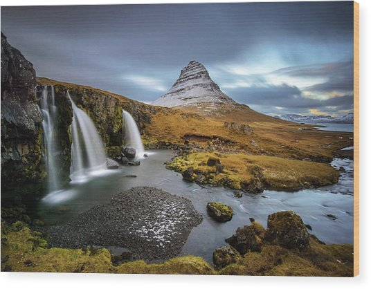 Kirkjufell With Waterfalls Wood Print