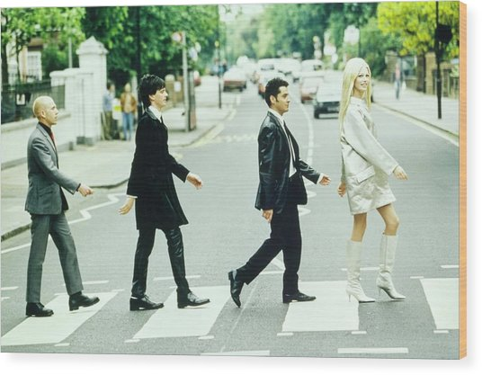Kirsty Hume Walks Across Abbey Road In Gianni Wood Print