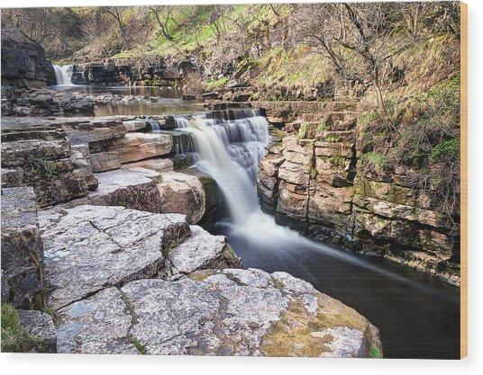 Kisdon Force Waterfall Wood Print by Chris Frost
