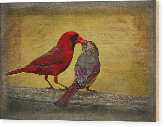 Kissy Kissy Birds Wood Print