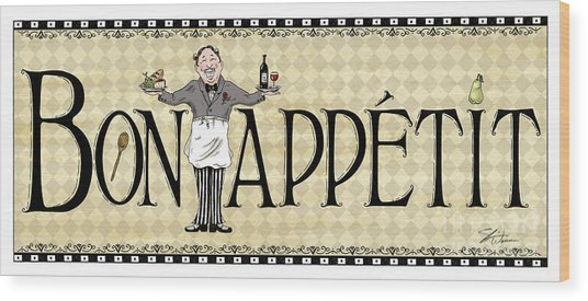 Kitchen Sign-bon Appetit Wood Print