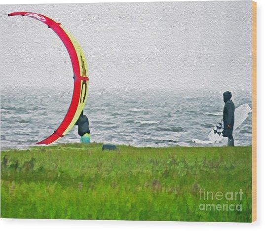 Kite Boarder Wood Print