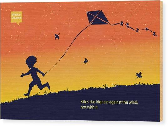 Kite Flier Wood Print