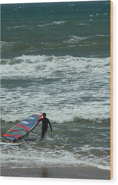 Kiteboarder Pacific Coast Highway Wood Print by Gail Maloney