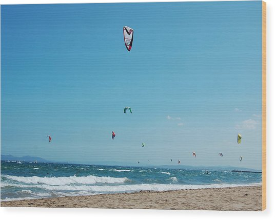 Kitesurf Lovers Wood Print
