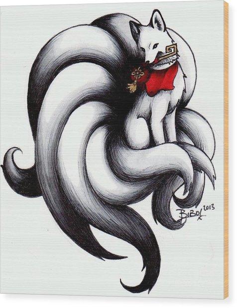 Kitsune Wood Print by Bibo