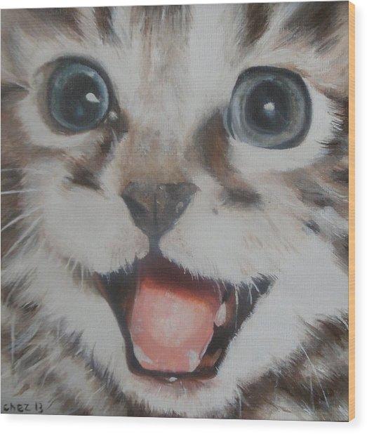 Kitten Wood Print