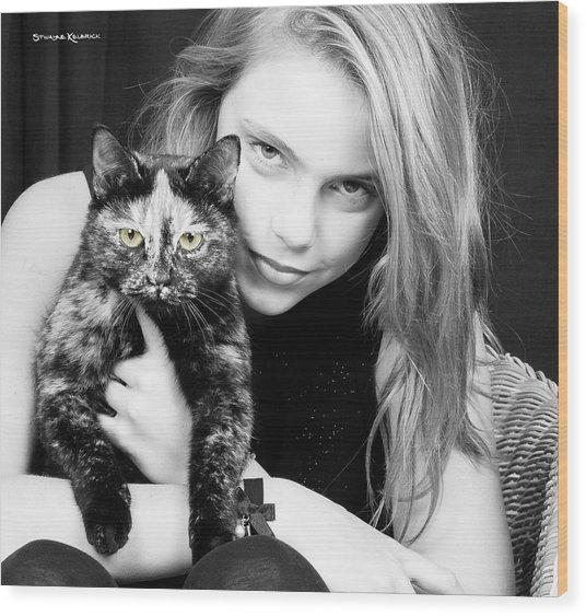 Wood Print featuring the photograph Kitten Eyes by Stwayne Keubrick