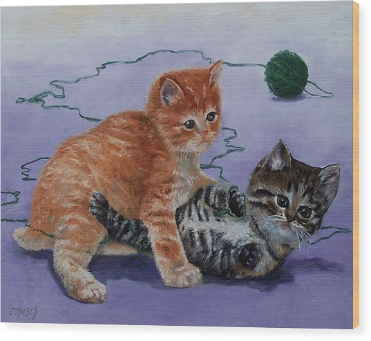 Kittens At Play Wood Print by Donna Munsch