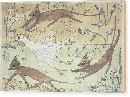 Kittens Chasing Chicken Wood Print by Eleanor Arbeit