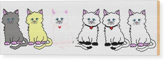 Kitties In A Row Wood Print