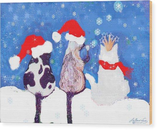 Kitty Christmas Wood Print