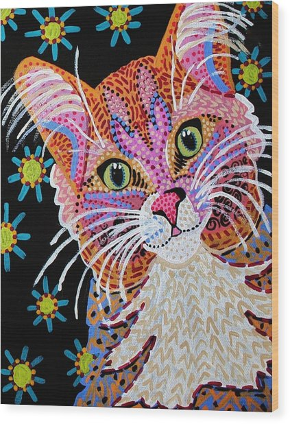 Pink Kitty From Krelly Art Wood Print