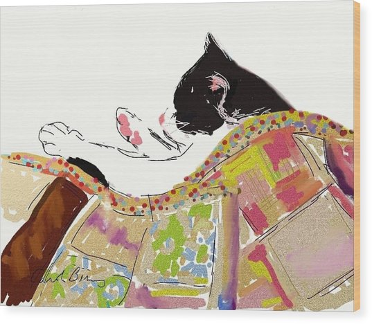 Kitty Sleeping Under Quilt Wood Print