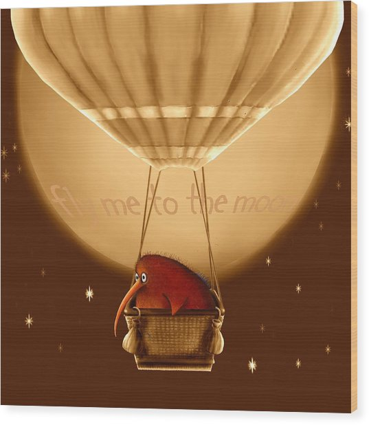 Kiwi Bird Kev - Fly Me To The Moon - Sepia Wood Print