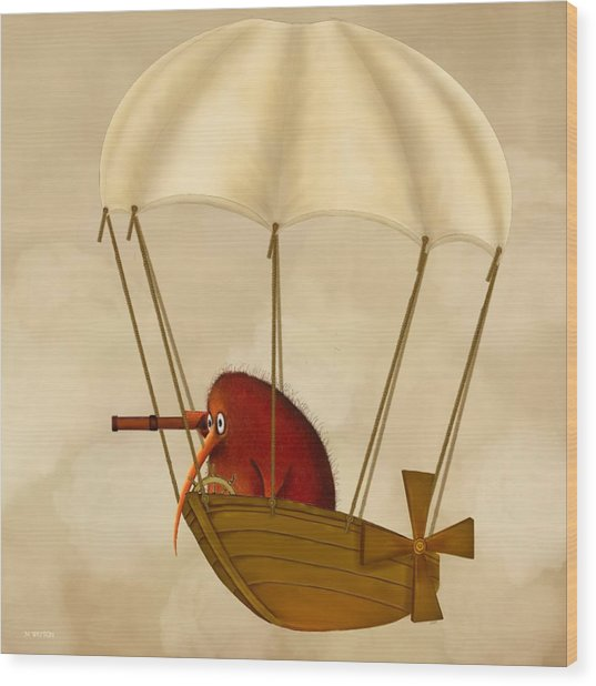 Kiwi Bird Kev's Airship Wood Print