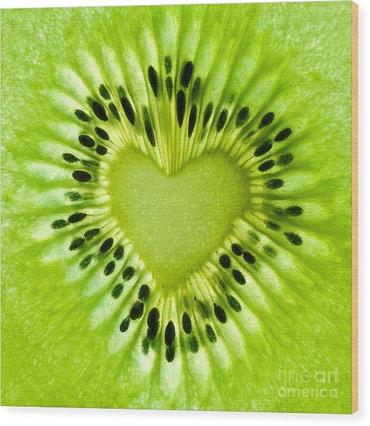 Kiwi Heart Wood Print