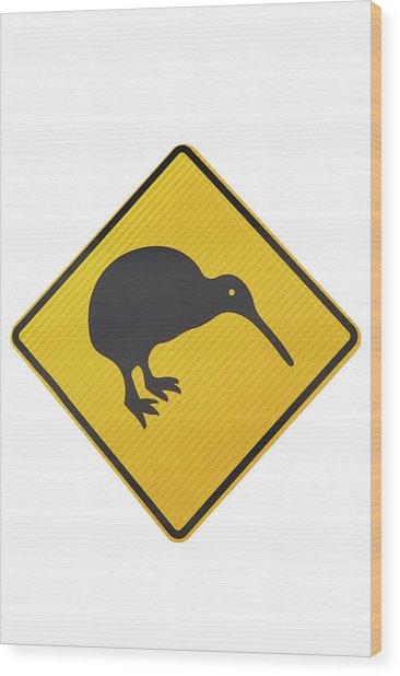 Kiwi Warning Sign, New Zealand Wood Print by David Wall