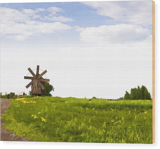 Kizhi Island Windmill Russia Wood Print by Glen Glancy