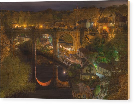 Knaresbrough Viaduct At Night Reflection Wood Print