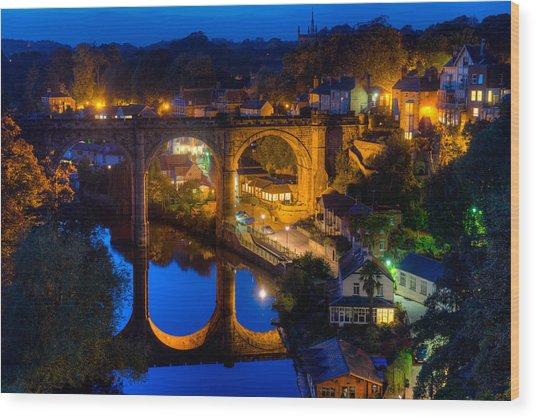 Knaresbrough Viaduct Night Reflection Wood Print by Dennis Dame
