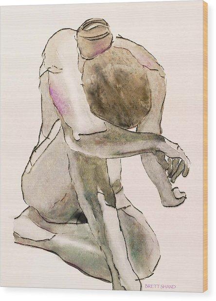 Kneeling Nude Wood Print