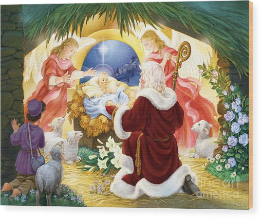 Kneeling Santa Nativity Wood Print