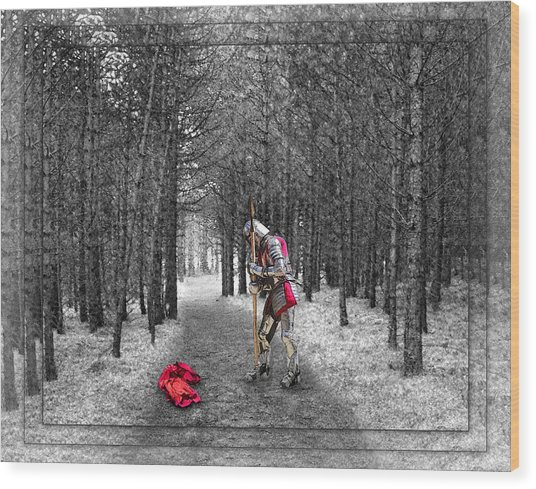 Knight And The Maiden Wood Print