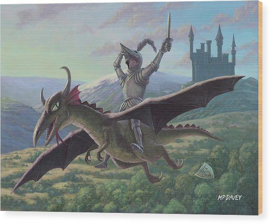 Knight Riding On Flying Dragon Wood Print