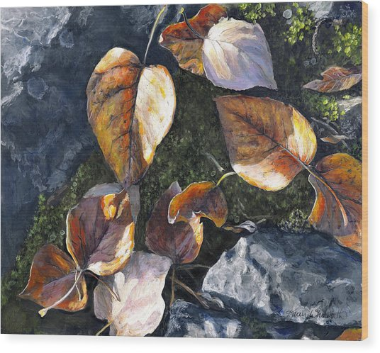 Knik River Autumn Leaves Wood Print