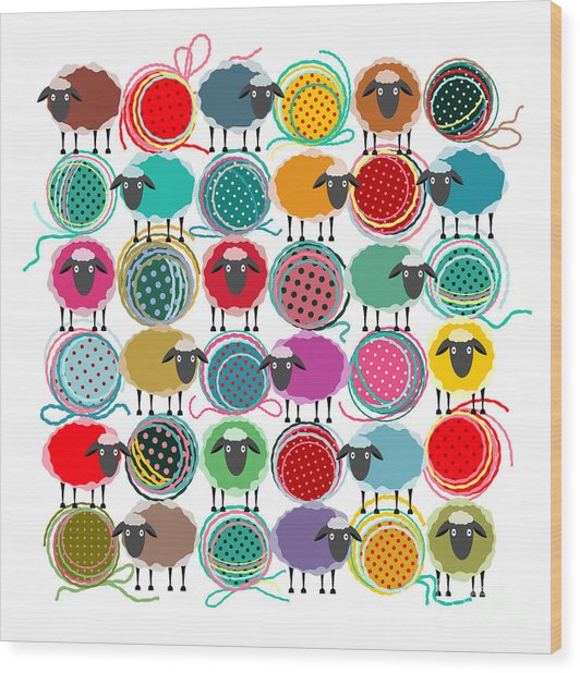 Knitting Yarn Balls And Sheep Abstract Wood Print by Popmarleo