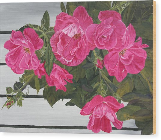 Knock Out Roses Wood Print