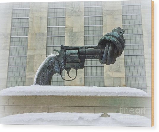 Knotted Gun Sculpture At The United Nations Wood Print
