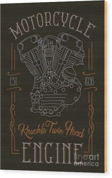 Knuckle Twin Head Motorcycle Engine Wood Print
