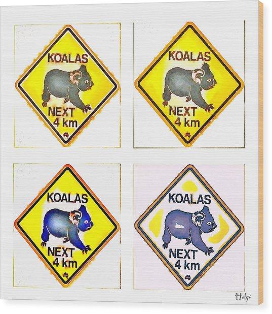 Koalas Road Sign Pop Art Wood Print