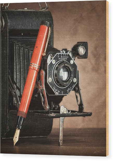 Kodak And Parker Still Life Wood Print