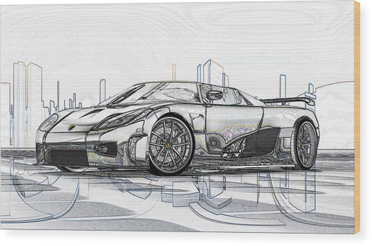 Koenigsegg Ccx Sketch  Wood Print