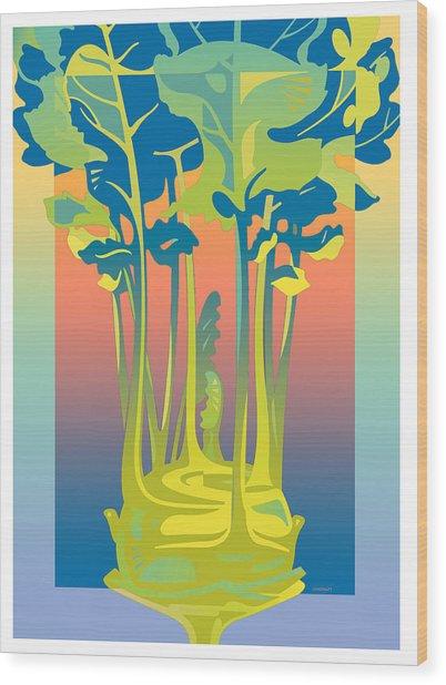 Kohlrabi Gradient Wood Print