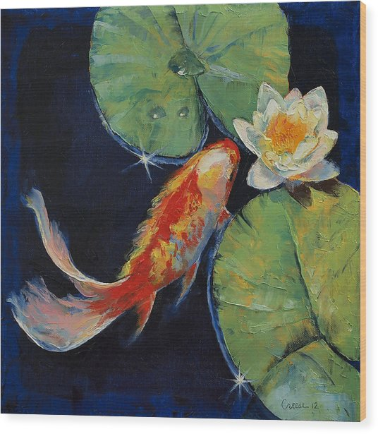 Koi And White Lily Wood Print