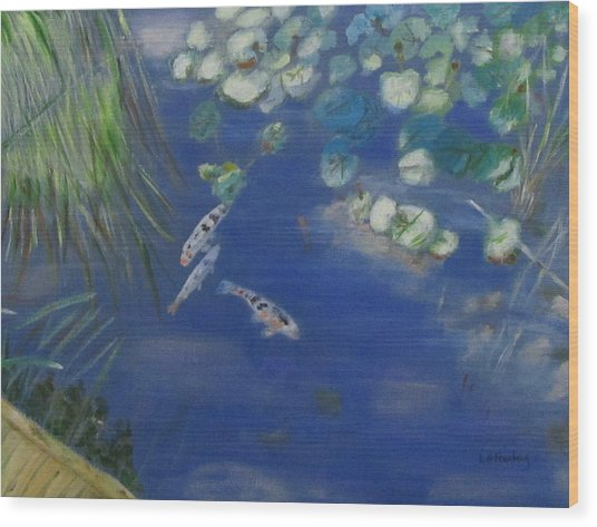 Koi At Red Butte Gardens Wood Print