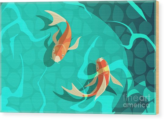 Koi Carp Japanese  Symbol Of Luck Wood Print