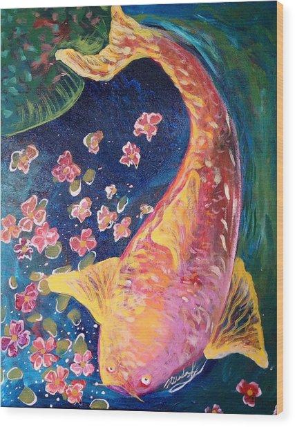 Koi Fish Wood Print by Michaela Kraemer